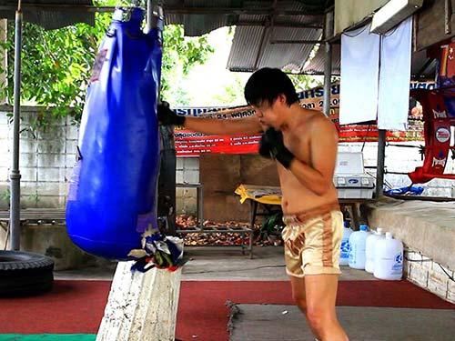 Training in a Muay Thai Gym.