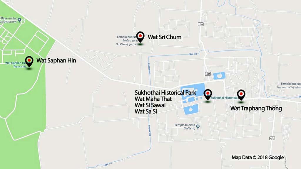 Map of Sukhothai Historical Park.